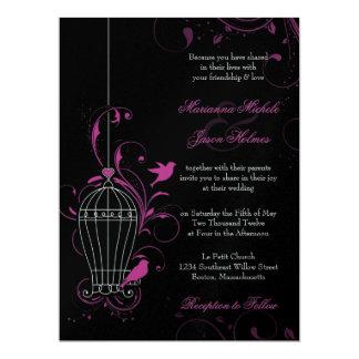 "Metallic Pink & Black Swirly Birdcage Wedding 6.5"" X 8.75"" Invitation Card"