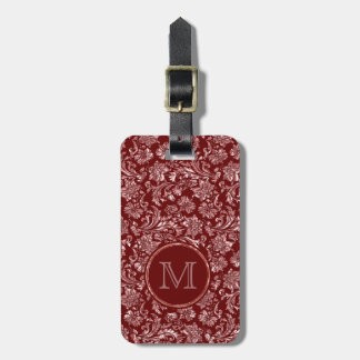 Metallic Pink Damasks Burgundy Background Monogram Luggage Tag