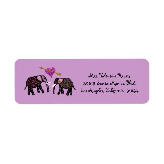 Metallic Pink Elephants Valentine Address Labels