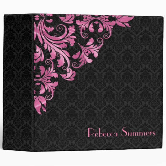 Metallic Pink Lace Black Damask Pattern Binder