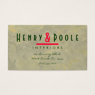 Metallic Plaster Interior Designer Branding Business Card