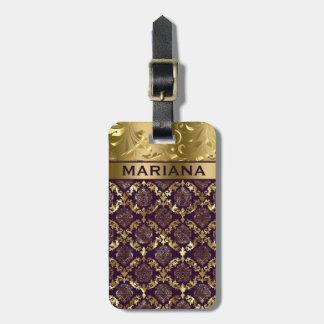Metallic Purple And Gold Damasks & Swirls Luggage Tag