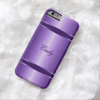 Metallic Purple Brushed Aluminum Look Barely There iPhone 6 Case