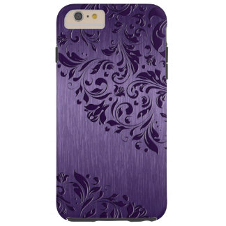 Metallic Purple Brushed Aluminum Purple Lace 2a Tough iPhone 6 Plus Case