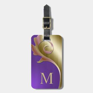 Metallic Purple Gold Pink Monogram Luggage Tag
