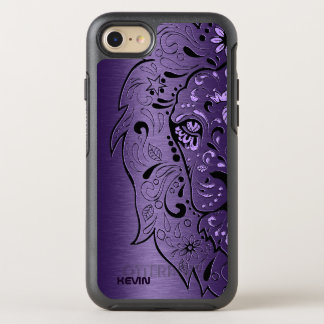 Metallic Purple & Lion Head Sugar Skull OtterBox Symmetry iPhone 8/7 Case