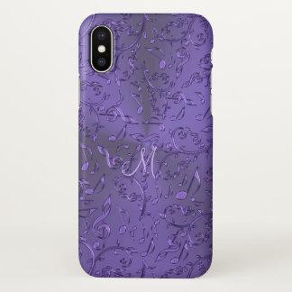 Metallic Purple Music Notes Monogram iPhone X Case