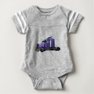Metallic Purple Semi Tractor Trailer Truck Baby Bodysuit