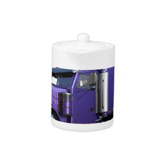 Metallic Purple Semi Truck In Three Quarter View