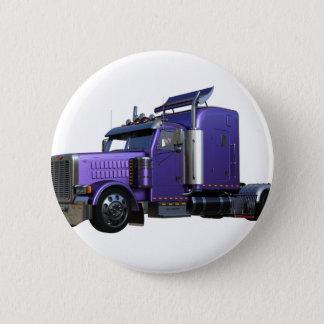Metallic Purple Semi Truck In Three Quarter View 2 Inch Round Button