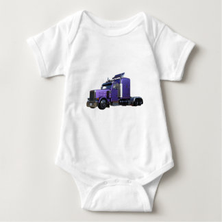 Metallic Purple Semi Truck In Three Quarter View Baby Bodysuit