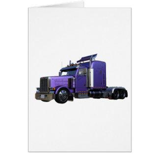 Metallic Purple Semi Truck In Three Quarter View Card