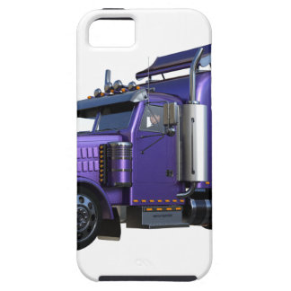 Metallic Purple Semi Truck In Three Quarter View Case For The iPhone 5