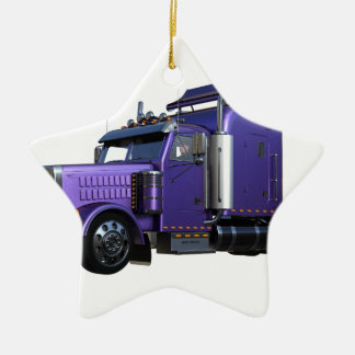 Metallic Purple Semi Truck In Three Quarter View Ceramic Ornament
