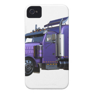 Metallic Purple Semi Truck In Three Quarter View iPhone 4 Cover