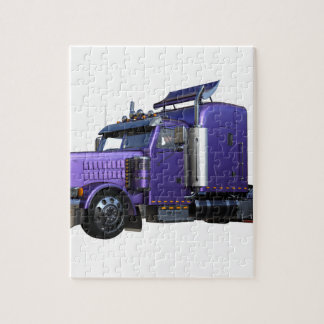 Metallic Purple Semi Truck In Three Quarter View Jigsaw Puzzle