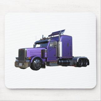 Metallic Purple Semi Truck In Three Quarter View Mouse Pad