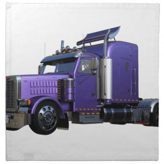 Metallic Purple Semi Truck In Three Quarter View Napkin