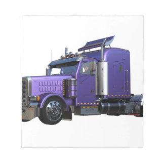 Metallic Purple Semi Truck In Three Quarter View Notepad
