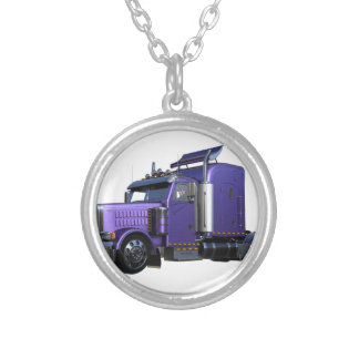 Metallic Purple Semi Truck In Three Quarter View Silver Plated Necklace