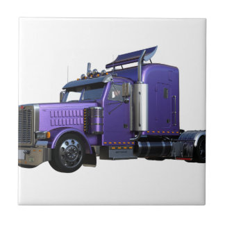 Metallic Purple Semi Truck In Three Quarter View Tile
