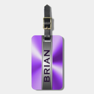 Metallic Purple & Silver Brushed Aluminum Look Luggage Tag