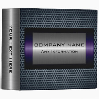 Metallic Purple Stainless Gray Steel Hole Look 3 Ring Binder