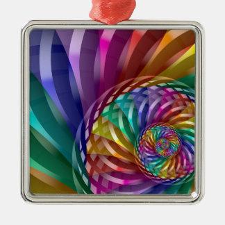 Metallic Rainbow Silver-Colored Square Ornament