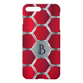 Metallic Red And Silver Octagons Geometric Pattern iPhone 8 Plus/7 Plus Case