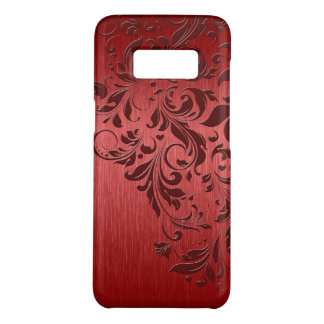 Metallic Red Background With Dark Red Lace Case-Mate Samsung Galaxy S8 Case