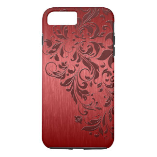 Metallic Red Background With Dark Red Lace iPhone 8 Plus/7 Plus Case