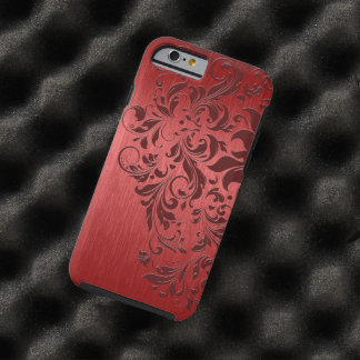 Metallic Red Brushed Aluminum & Dark Red Lace Tough iPhone 6 Case