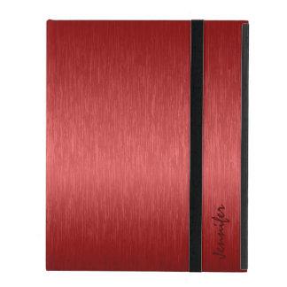 Metallic Red Brushed Aluminum Look iPad Cover