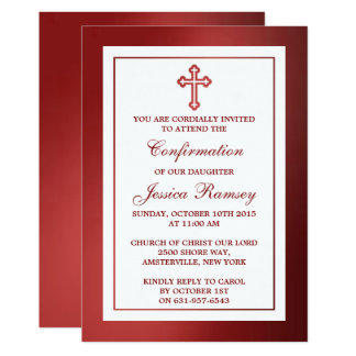"Metallic Red Cross Holy Communion Or Confirmation 5"" X 7"" Invitation Card"