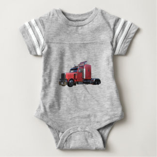 Metallic Red Semi Tractor Traler Truck Baby Bodysuit