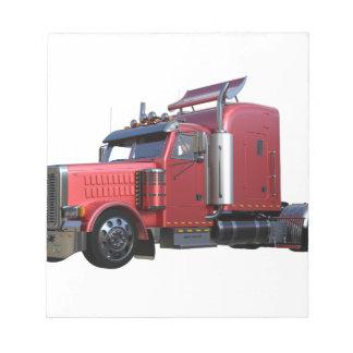 Metallic Red Semi Tractor Traler Truck Notepad