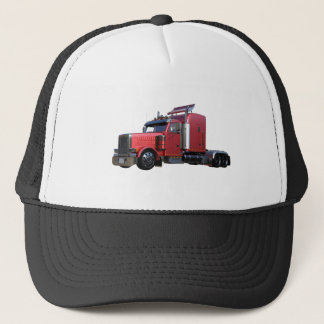 Metallic Red Semi Tractor Traler Truck Trucker Hat
