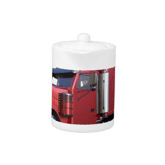 Metallic Red Semi TruckIn Three Quarter View