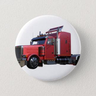 Metallic Red Semi TruckIn Three Quarter View 2 Inch Round Button