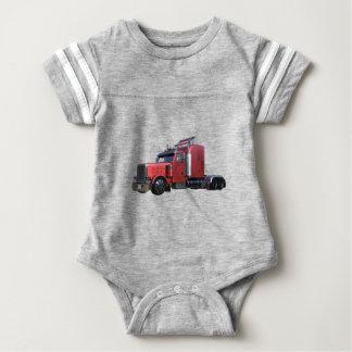 Metallic Red Semi TruckIn Three Quarter View Baby Bodysuit