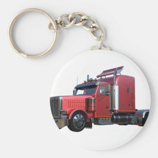 Metallic Red Semi TruckIn Three Quarter View Basic Round Button Keychain