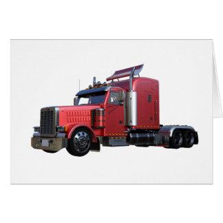 Metallic Red Semi TruckIn Three Quarter View Card