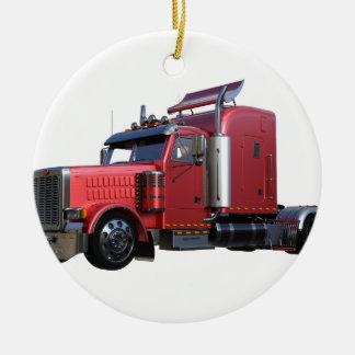 Metallic Red Semi TruckIn Three Quarter View Ceramic Ornament