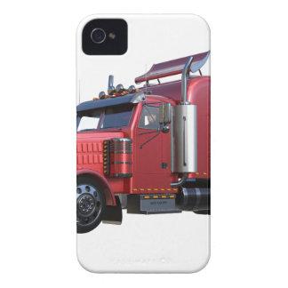 Metallic Red Semi TruckIn Three Quarter View iPhone 4 Case