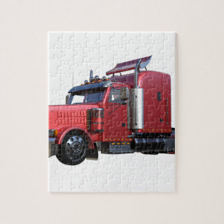 Metallic Red Semi TruckIn Three Quarter View Jigsaw Puzzle