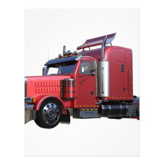 Metallic Red Semi TruckIn Three Quarter View Letterhead