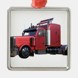 Metallic Red Semi TruckIn Three Quarter View Metal Ornament