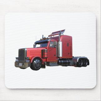 Metallic Red Semi TruckIn Three Quarter View Mouse Pad