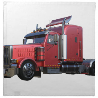 Metallic Red Semi TruckIn Three Quarter View Napkin