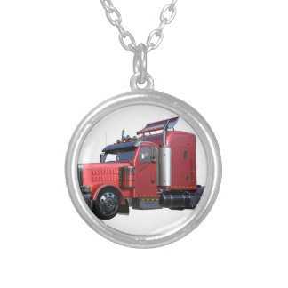 Metallic Red Semi TruckIn Three Quarter View Silver Plated Necklace